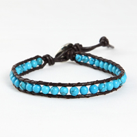 Beaded leather wrap bracelets