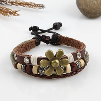 Leather charm bracelets adjustable