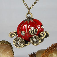 Enamel antique long necklace with pendant