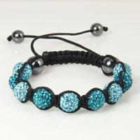 Rhinestone ball macrame bracelets