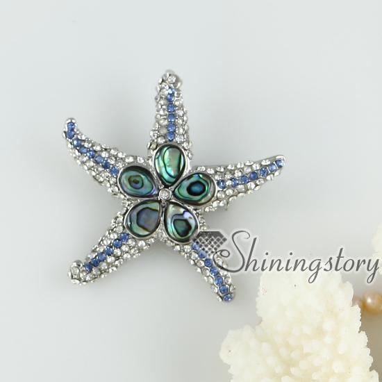 pink oyster shell rainbow abalone shell rhinestone starfish star