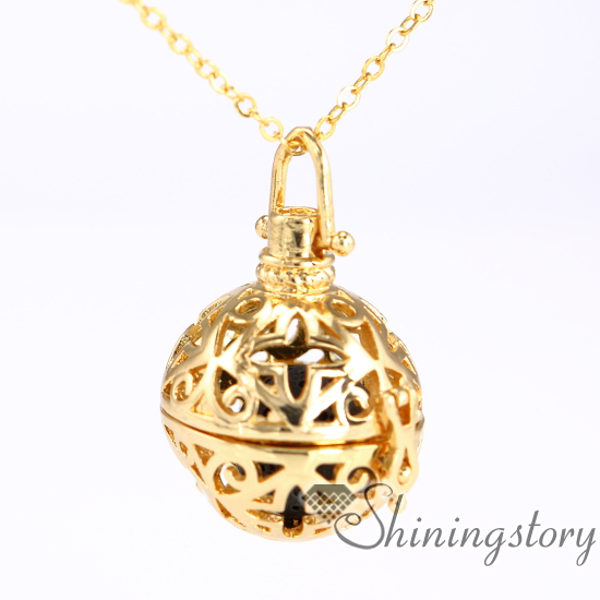 ball engraved locket essential oils and aromatherapy mom locket necklace oil diffuser necklace diy metal volcanic stone openwork necklaces