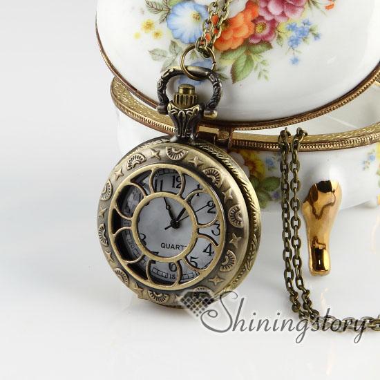 Brass antique style openwork flower pocket watch pendant long chain brass antique style openwork flower pocket watch pendant long chain necklaces aloadofball Gallery