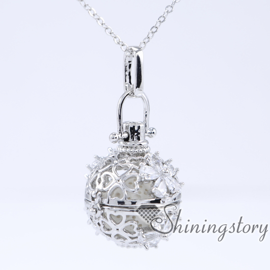 cz cubic zircon charm lockets silver heart locket necklace round locket necklace aromatherapy stones heart lockets for girls