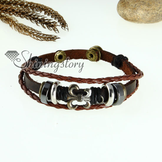 fleur de lis charm genuine leather wrap bracelets