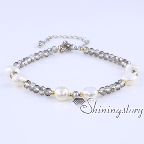freshwater pearl bracelet small pearl bracelet with crystal beads pearls jewelry online pearls bridal jewellery