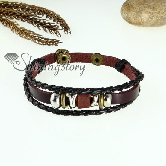 genuine leather charm wrap bracelets unisex