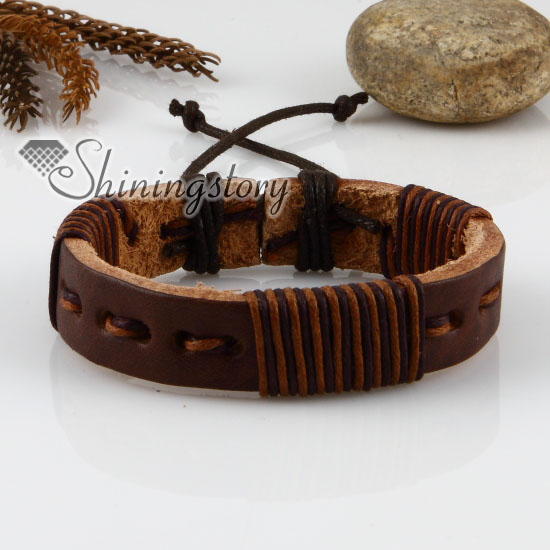 genuine leather wrap wristbands adjustable drawstring bracelets unisex
