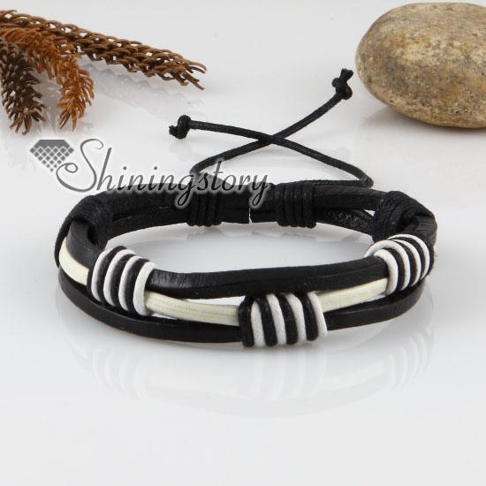 genuine leather wristbands adjustable drawstring cotton bracelets unisex