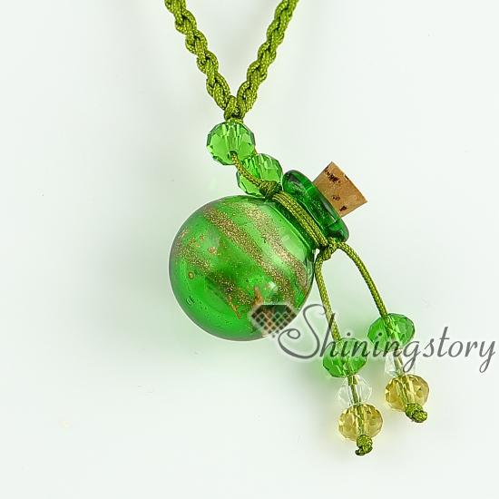 glitter essential oil diffuser necklaces small wish bottle pendants necklace wholesale italian murano glass jewelry hand