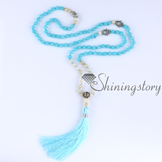 mala beads wholesale semi precious stone 108 mala bead necklace with tassel healing jewelry hamsa hand necklace