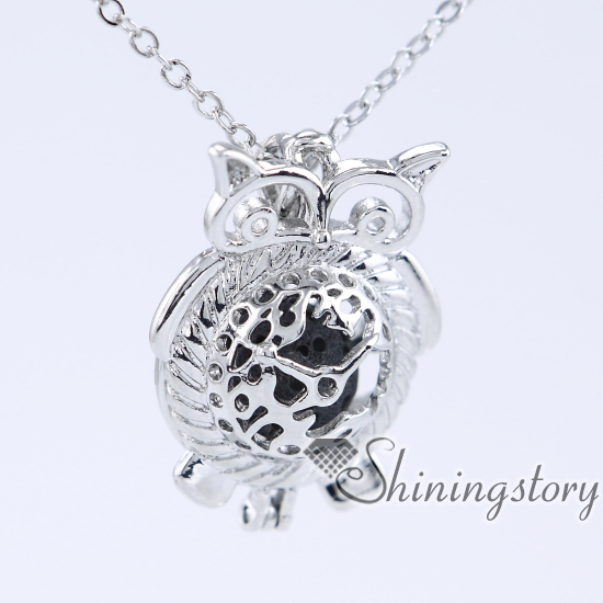 owl silver locket necklace natural essential oil diffuser rose gold locket pendant grandmother locket necklace aromatherapy necklace