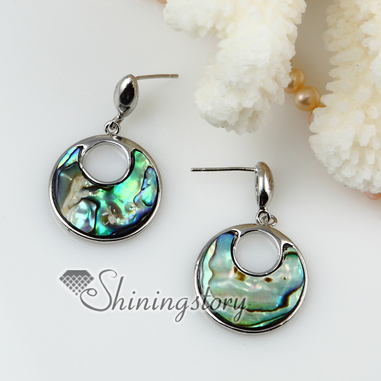 Round Openwork Seawater Rainbow Abalone S Mother Of Pearl Stud Earrings Design A