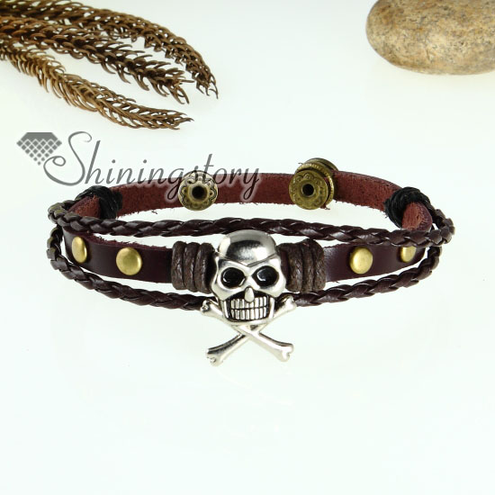 skull cross charm genuine leather wrap bracelets