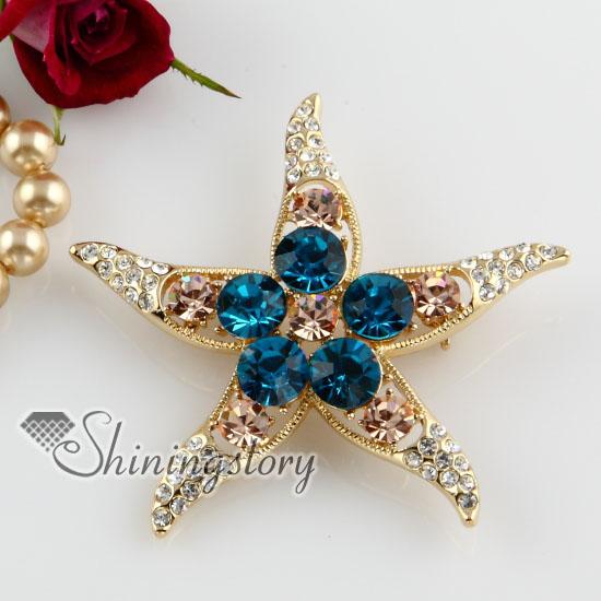 starfish colorful rhinestone scarf brooch pin jewelry wholesale