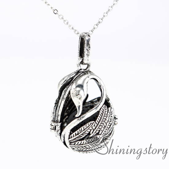 teardrop swan essential oil jewelry wholesale essential oil diffusers white gold heart locket diffuser locket necklace metal volcanic stone