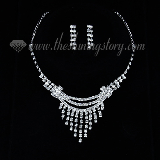 Wedding bridal prom rhinestone chandelier necklaces and earrings wedding bridal prom rhinestone chandelier necklaces and earrings silver mozeypictures Choice Image
