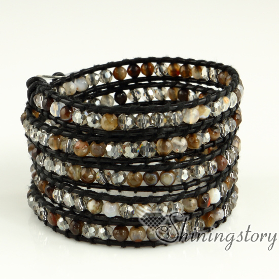 leather bracelet at cording with beads wrap pearls lagoon