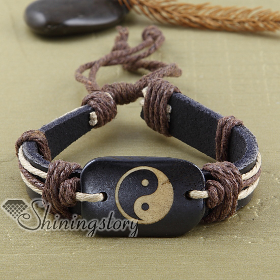 yinyang genuine leather bracelets adjustable