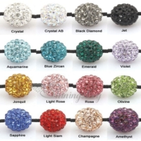 Rhinestone glitter ball pave beads for making macrame bracelets