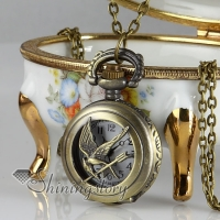 Bronze long chain pocket watch necklaces