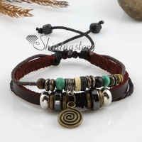 Adjustable leather charm bracelets