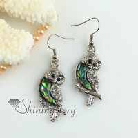 owl rainbow abalone oyster sea shell mother of pearl rhinestone dangle earrings