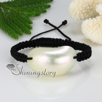 oval white oyster mother of pearl sea shell macrame bracelets