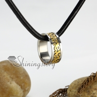 genuine leather stainless steel round necklaces with ring pendant antique punk gothic styole