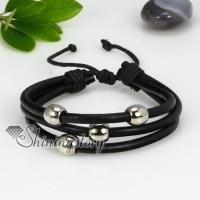 genuine leather three layer triple layer drawstring wrap bracelets