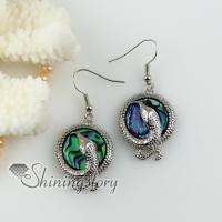 round snake rainbow abalone shell dangle earrings cheap fashion jewelry