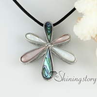 white pink rainbow abalone sea shell pendants rhinestone teardrop flower necklaces mop jewellery