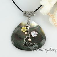 heart flower cameo pendants pink yellow oyster sea shell freshwater pearl rhinestone necklaces mop jewellery
