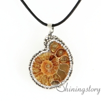 seashell ammonite fossil pendants sea shell pendant necklaces handmade semi precious stone jewelry rhinestone sea shell pendant