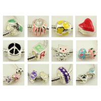 200pc enamel european large hole charms fit for bracelets