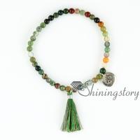 om bracelets beaded tassel bracelet yoga bracelets om braceletom jewelry yoga bead bracelets tassel stretch beaded semi precious stone