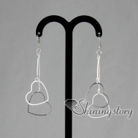 925 sterling silver filled brass double heart dangle earrings