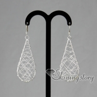 925 sterling silver filled brass filigree tear drops dangle earrings