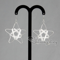 925 sterling silver filled brass mesh star dangle earrings