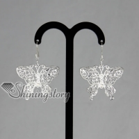 925 sterling silver filled brass openwork butterfly dangle earrings