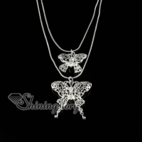 925 sterling silver filled brass openwork double butterfly necklaces with pendants