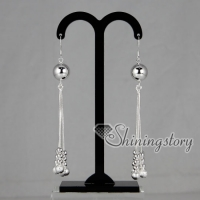 925 sterling silver filled brass tassel glitter ball dangle earrings