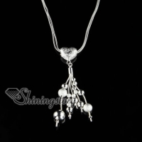 925 sterling silver filled brass tassel glitter ball heart pendants necklaces