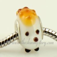 Animal murano glass big hole beads