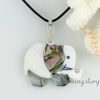 abalone sea shell pendants elephant patchwork necklaces mop jewellery