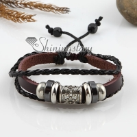 adjustable alloy genuine leather bracelets unisex