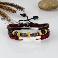 adjustable anchor genuine leather charm bracelets