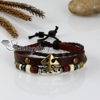 adjustable corss genuine leather charm bracelets unisex