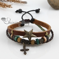 adjustable cross alloy genuine leather bracelets