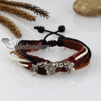 adjustable flower genuine leather charm bracelets unisex